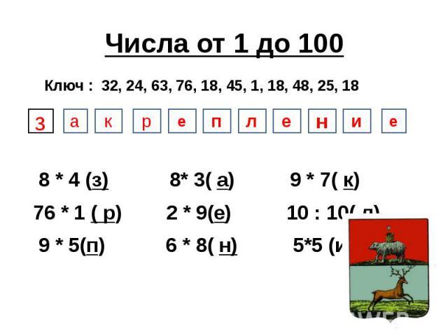 Числа от 1 до 100 8 * 4 (з) 8* 3( а) 9 * 7( к) 76 * 1 ( р) 2 * 9(е) 10 : 10( л) 9 * 5(п) 6 * 8( н) 5*5 (и)