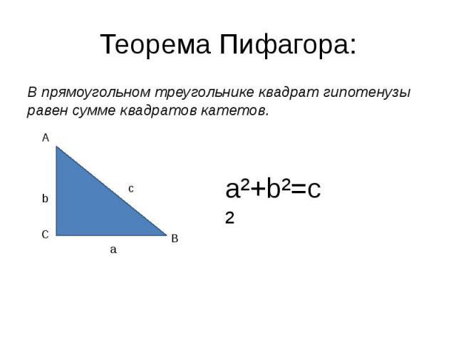 Теорема Пифагора: В прямоугольном треугольнике квадрат гипотенузы равен сумме квадратов катетов.