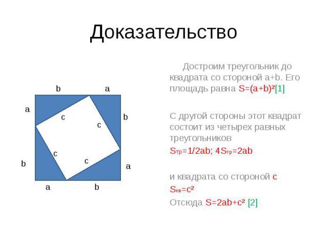 Доказательство Достроим треугольник до квадрата со стороной a+b. Его площадь равна S=(a+b)²[1] С другой стороны этот квадрат состоит из четырех равных треугольников Sтр=1/2ab; 4Sтр=2ab и квадрата со стороной с Sкв=с² Отсюда S=2ab+c² [2]