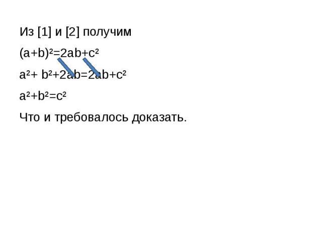 Из [1] и [2] получим Из [1] и [2] получим (a+b)²=2ab+c² a²+ b²+2ab=2ab+c² a²+b²=c² Что и требовалось доказать.