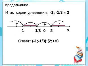 продолжение Итак корни уравнения: -1; -1/3 и 2 Ответ: (-1;-1/3);(2;+∞)