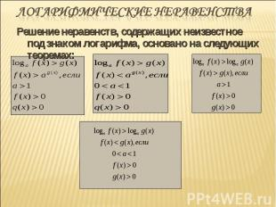Решение неравенств, содержащих неизвестное под знаком логарифма, основано на сле
