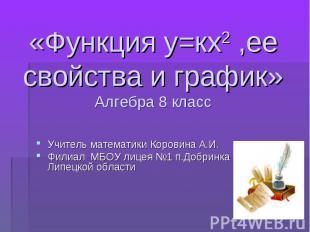 Учитель математики Коровина А.И. Учитель математики Коровина А.И. Филиал МБОУ ли