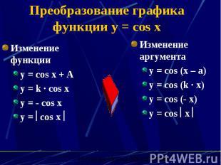 Преобразование графика функции y = cos x Изменение функции y = cos x + A y = k ·