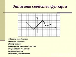 Область определения: Область определения: Область значений: Нули функции: Промеж