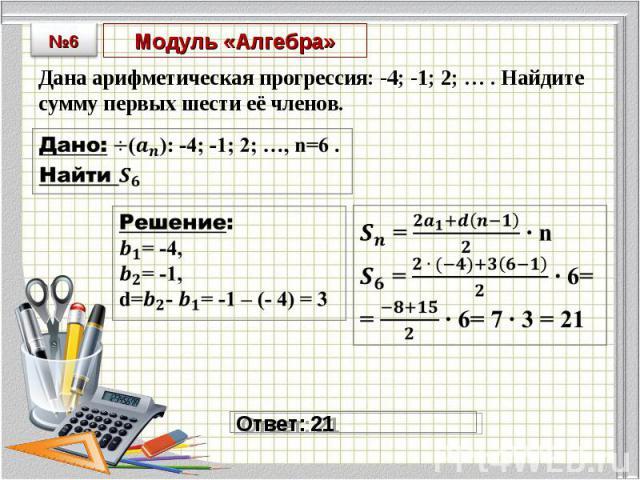 Дана арифметическая прогрессия: -4; -1; 2; … . Найдите сумму первых шести её членов. Дана арифметическая прогрессия: -4; -1; 2; … . Найдите сумму первых шести её членов.