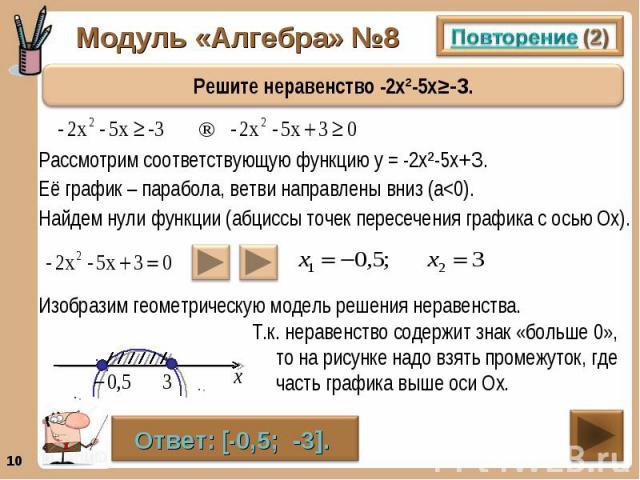 Рассмотрим соответствующую функцию у = -2х²-5х+3. Рассмотрим соответствующую функцию у = -2х²-5х+3. Её график – парабола, ветви направлены вниз (а<0). Найдем нули функции (абциссы точек пересечения графика с осью Ох).
