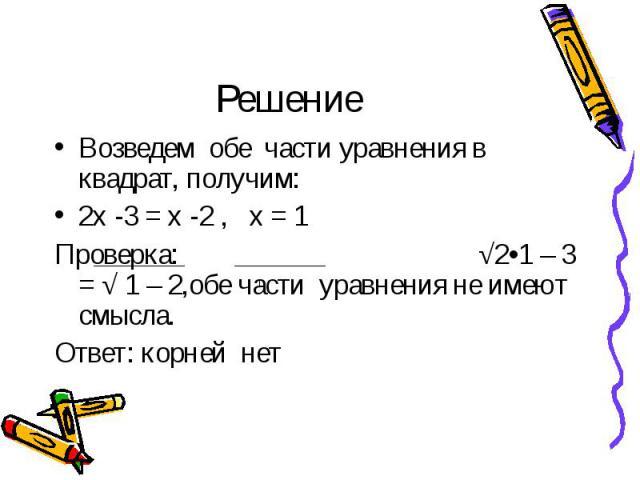 Возведем обе части уравнения в квадрат, получим: Возведем обе части уравнения в квадрат, получим: 2х -3 = х -2 , х = 1 Проверка: √2•1 – 3 = √ 1 – 2,обе части уравнения не имеют смысла. Ответ: корней нет