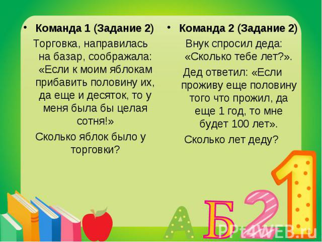 Команда 1 (Задание 2) Команда 1 (Задание 2) Торговка, направилась на базар, соображала: «Если к моим яблокам прибавить половину их, да еще и десяток, то у меня была бы целая сотня!» Сколько яблок было у торговки?