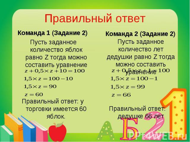 Команда 1 (Задание 2) Команда 1 (Задание 2) Пусть заданное количество яблок равно Z тогда можно составить уравнение Правильный ответ: у торговки имеется 60 яблок.
