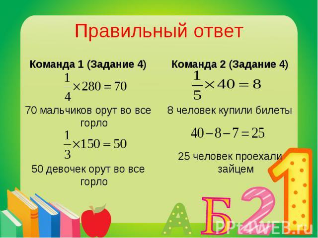Команда 1 (Задание 4) Команда 1 (Задание 4) 70 мальчиков орут во все горло 50 девочек орут во все горло