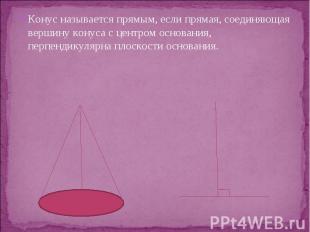 Конус называется прямым, если прямая, соединяющая вершину конуса с центром основ