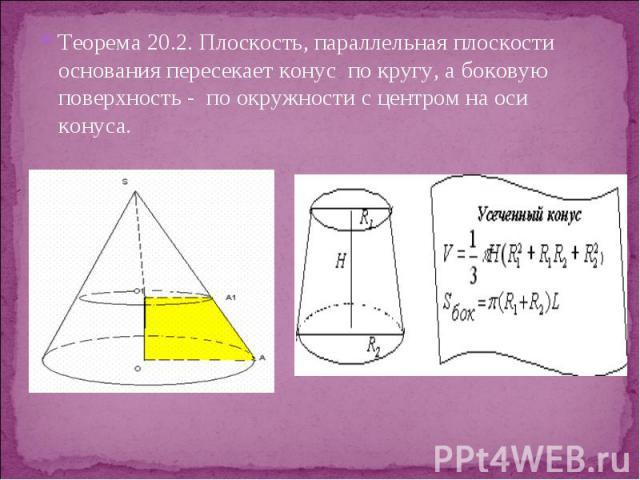 Теорема 20.2. Плоскость, параллельная плоскости основания пересекает конус по кругу, а боковую поверхность - по окружности с центром на оси конуса. Теорема 20.2. Плоскость, параллельная плоскости основания пересекает конус по кругу, а боковую поверх…
