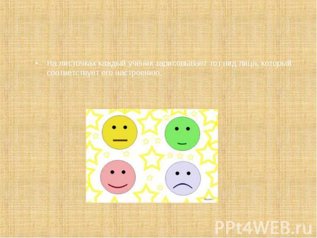 На листочках каждый ученик зарисовывает тот вид лица, который соответствует его настроению. На листочках каждый ученик зарисовывает тот вид лица, который соответствует его настроению.