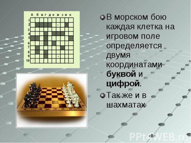 В морском бою каждая клетка на игровом поле определяется двумя координатами буквой и цифрой. В морском бою каждая клетка на игровом поле определяется двумя координатами буквой и цифрой. Так же и в шахматах
