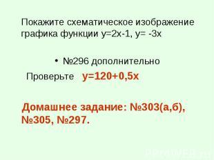 Покажите схематическое изображение графика функции у=2х-1, у= -3х Покажите схема