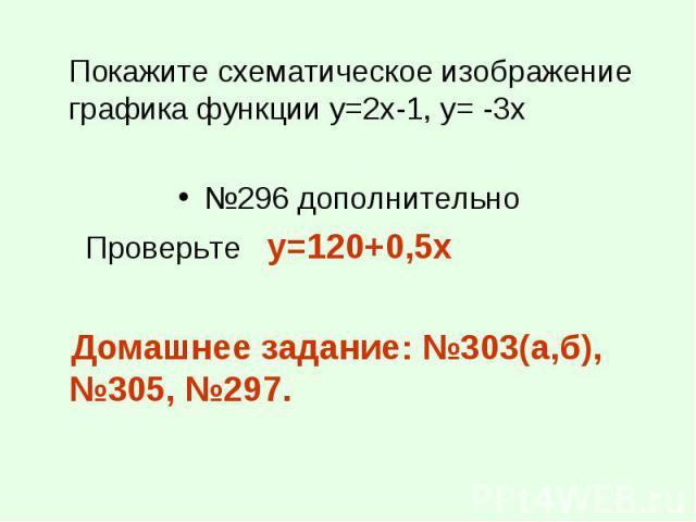Покажите схематическое изображение графика функции у=2х-1, у= -3х Покажите схематическое изображение графика функции у=2х-1, у= -3х №296 дополнительно Проверьте y=120+0,5x Домашнее задание: №303(а,б), №305, №297.