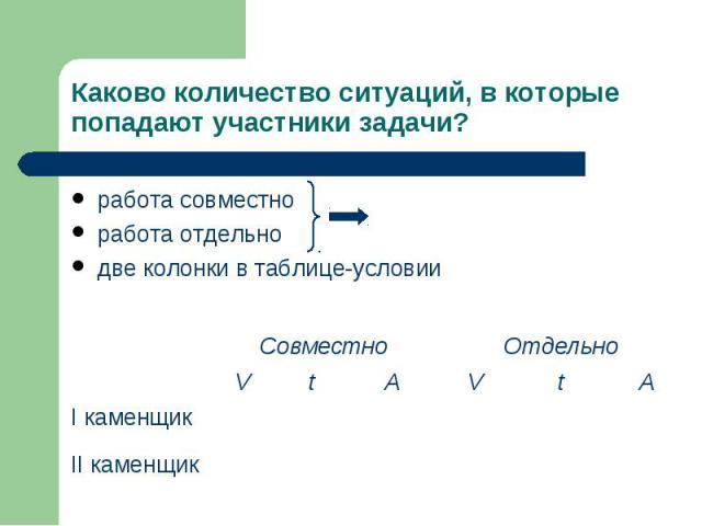 работа совместно работа совместно работа отдельно две колонки в таблице-условии