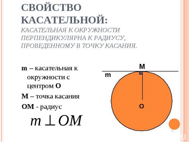 m – касательная к окружности с центром О m – касательная к окружности с центром О М – точка касания OM - радиус