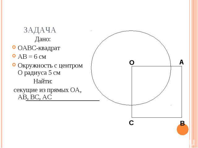Дано: Дано: OABC-квадрат AB = 6 см Окружность с центром O радиуса 5 см Найти: секущие из прямых OA, AB, BC, АС