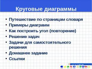 Круговые диаграммы Путешествие по страницам словаря Примеры диаграмм Как построи