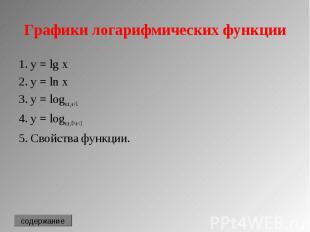 1. y = lg x 1. y = lg x 2. y = ln x 3. y = loga x, a>1 4. y = loga x, 0<a&