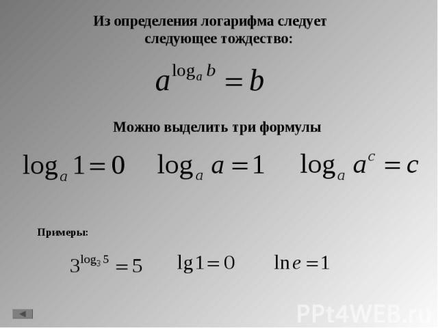 Из определения логарифма следует следующее тождество: Из определения логарифма следует следующее тождество: