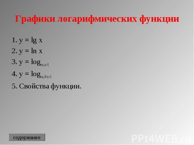 1. y = lg x 1. y = lg x 2. y = ln x 3. y = loga x, a>1 4. y = loga x, 0<a<1 5. Свойства функции.