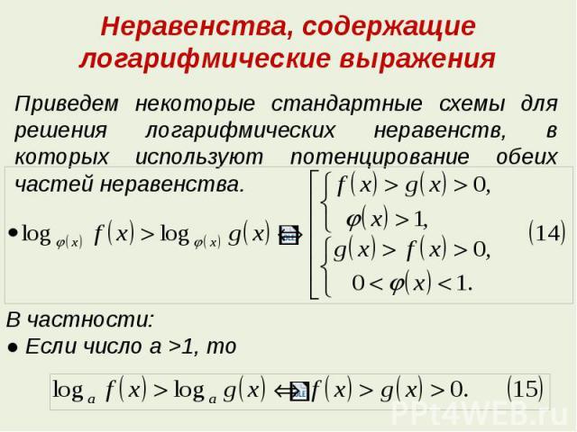 Неравенств логарифмических шпаргалка решение с3 .ру