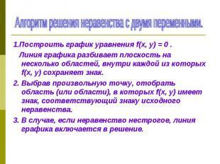1.Построить график уравнения f(х, у) = 0 . 1.Построить график уравнения f(х, у)