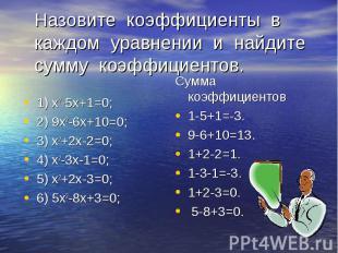 1) х2-5х+1=0; 2) 9х2-6х+10=0; 3) х2+2х-2=0; 4) х2-3х-1=0; 5) х2+2х-3=0; 6) 5х2-8