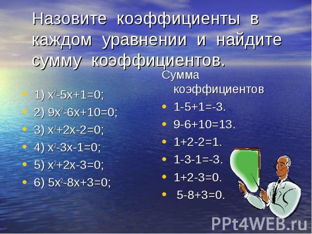 1) х2-5х+1=0; 2) 9х2-6х+10=0; 3) х2+2х-2=0; 4) х2-3х-1=0; 5) х2+2х-3=0; 6) 5х2-8х+3=0;