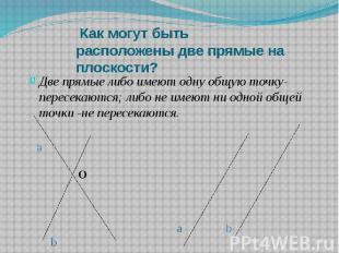 Как могут быть расположены две прямые на плоскости? Две прямые либо имеют одну о