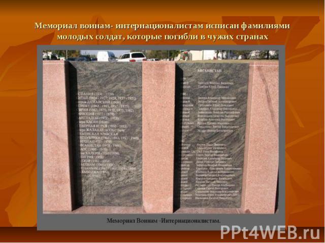 Мемориал воинам- интернационалистам исписан фамилиями молодых солдат, которые погибли в чужих странах