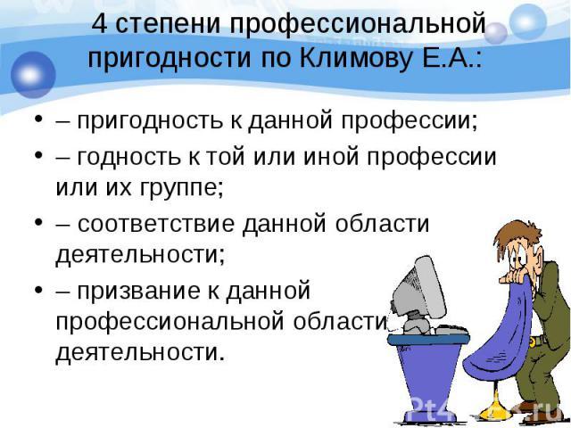 – пригодность к данной профессии; – пригодность к данной профессии; – годность к той или иной профессии или их группе; – соответствие данной области деятельности; – призвание к данной профессиональной области деятельности.