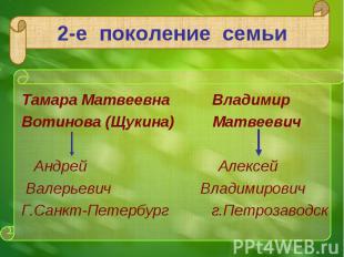 Тамара Матвеевна Владимир Тамара Матвеевна Владимир Вотинова (Щукина) Матвеевич