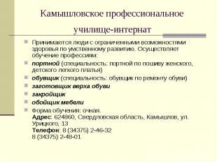 Камышловское профессиональное училище-интернат Принимаютсялюди с ограничен