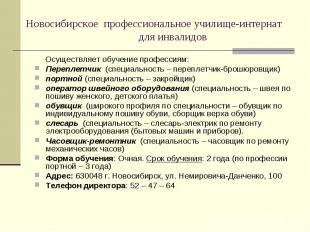 Новосибирское профессиональное училище-интернат для инвалидов Осуществляет обуче