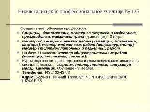 Нижнетагильское профессиональное училище № 135 Осуществляет обучение профессиям:
