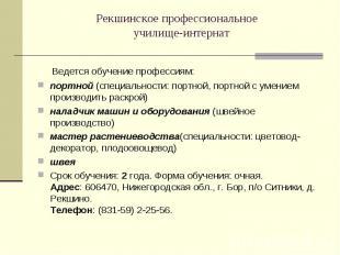 Рекшинское профессиональное училище-интернат Ведется обучение профессиям: