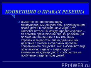 является основополагающим международным документом, регулирующим права детей в с