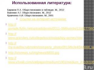 Использованная литература: Ссылки на интернет-источники: http://portalik.flyfm.n