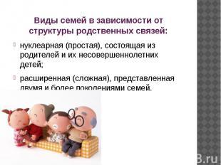 Виды семей в зависимости от структуры родственных связей: нуклеарная (простая),