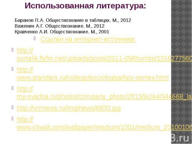 Использованная литература: Ссылки на интернет-источники: http://portalik.flyfm.net/uploads/posts/2011-09/thumbs/1316277560_0_2798_4f59777b_xl.jpeg http://www.grandars.ru/college/sociologiya/tipy-semey.html http://my-svadba.ru/photos/company_photo/2f…