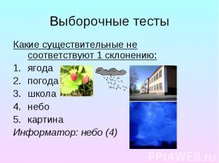 Выборочные тесты Какие существительные не соответствуют 1 склонению: ягода погод