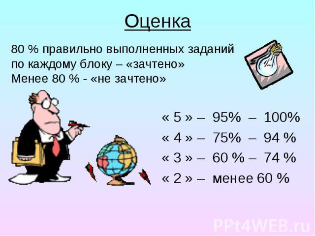 Оценка « 5 » – 95% – 100% « 4 » – 75% – 94 % « 3 » – 60 % – 74 % « 2 » – менее 60 %