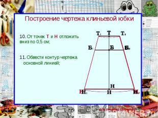 Построение чертежа клиньевой юбки От точек Т и Н отложить вниз по 0,5 см;