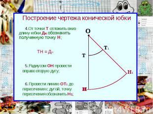 Построение чертежа конической юбки От точки Т отложить вниз длину юбки Ди, обозн