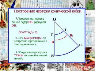 Построение чертежа конической юбки Провести на чертеже линию бедер ББ1 радиусом