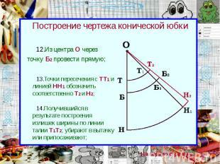 Построение чертежа конической юбки Из центра О через точку Б2 провести прямую;